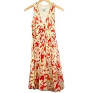 DVF Orange Floral 100% Silk Dress